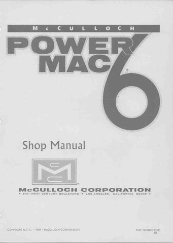 Mcculloch Power Mac 6 Chainsaw Workshop downloadable pdf Service and Repair Manual