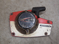 homelite super ez chainsaw starter/recoil cover and pulley assembly (metal, early model)