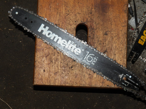 "16"" Black Homelite Chainsaw Bar and Chain USED"