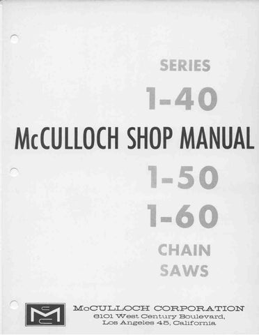 Mcculloch Vintage Chainsaw Workshop downloadable pdf Service and Repair Manual