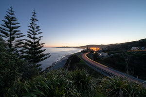 Dusk looking towards Tuahine Point, Wainui and Okitu