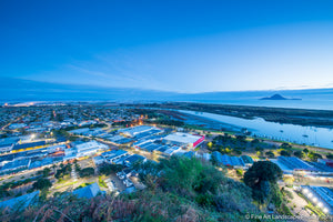 Sparkling lights at dawn over Whakatane Township
