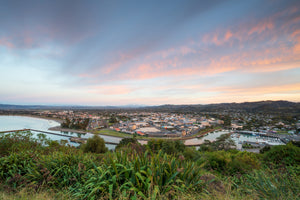 Sunrise colour over Gisborne City, Titirangi Domain