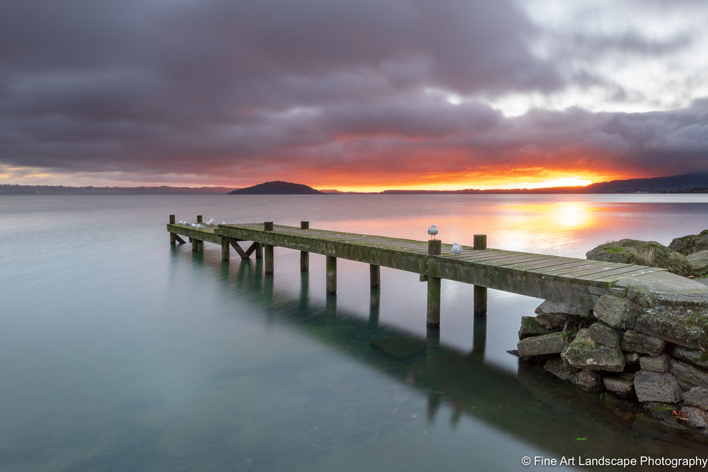 Sunrise over a jetty on the shores of Lake Rotorua