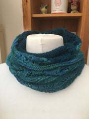 Teal cowl on a mannequin