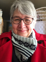 Deb Cunningham in a knitted cowl