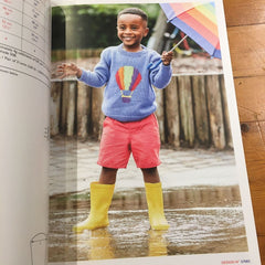 A page of Brights book showing a kid wearing a jumper with a bright balloon motif