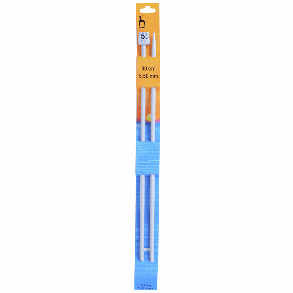 Pair of Pony 30cm long knitting needles. Anodized aluminium.