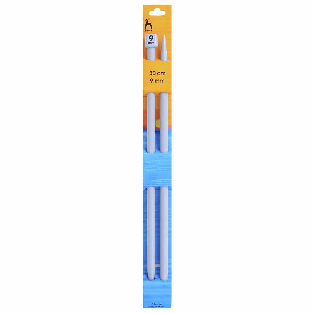 Pair of Pony 30cm long knitting needles. ABS plastic.