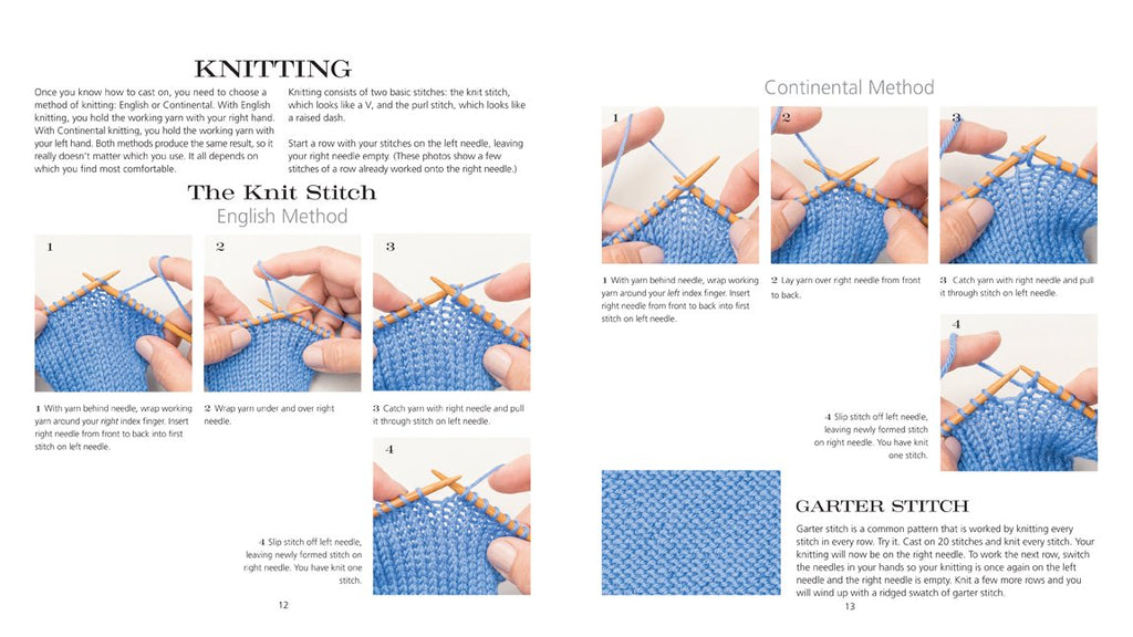 2 page spread from 60 Quick Knits for Beginners showing knitting instructions