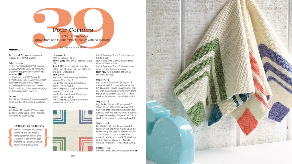 2 page spread from 60 Quick Knits for Beginners showing a pattern for a baby blanket