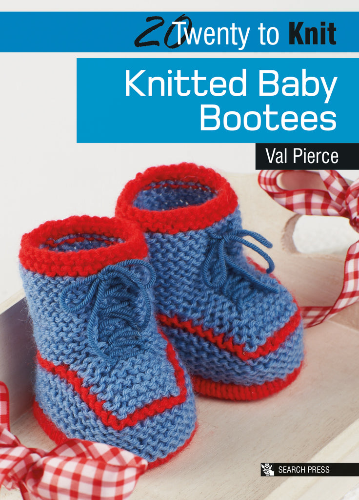 "The front cover of ""Twenty to Knit: Knitted Baby Bootees"" by Val Pierce, featuring a pair of handmade knitted blue and red baby bootees."