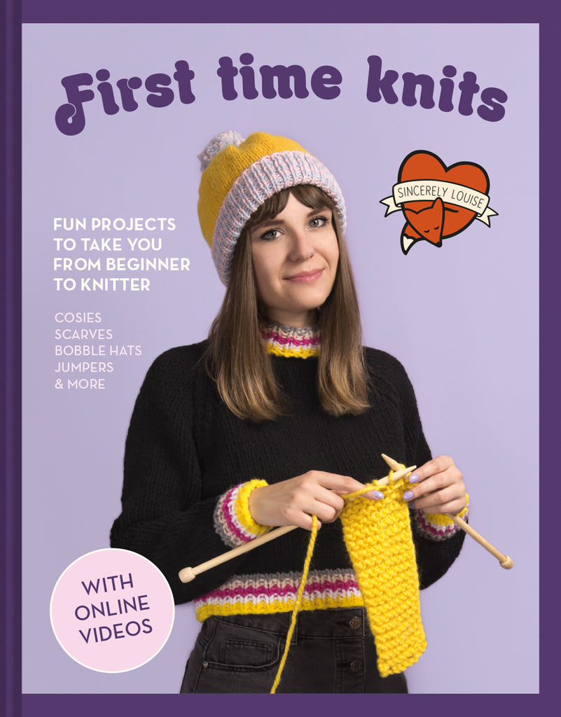 "The front cover of ""First time knits"" with the tagline ""Fun projects to take you from beginner to knitter"" featuring an image of the author Louise Walker knitting."