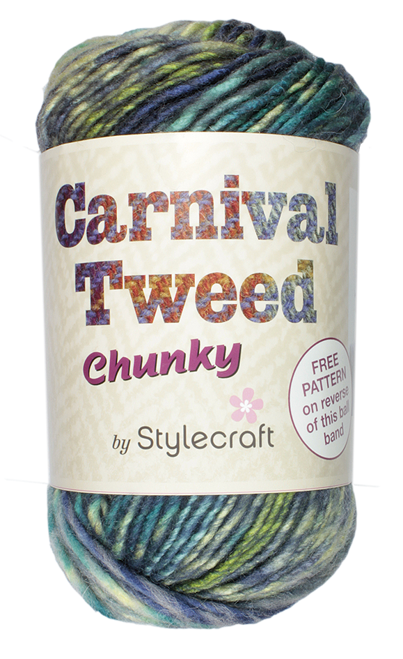 Ball of Stylecraft Carnival Tweed Chunky  in a blue/green mixwith ball band.