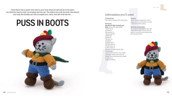 2 page spread from inside Knitted Fairy Tales book showing Puss In Boots