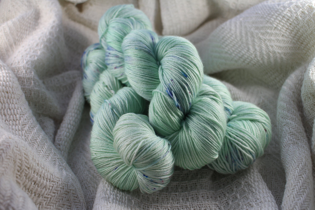 3 skeins of Crates of Wool Mulberry 4ply in green