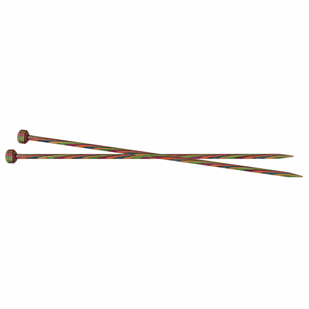 Two multi-coloured KnitPro single point knitting needles crossed over one another.