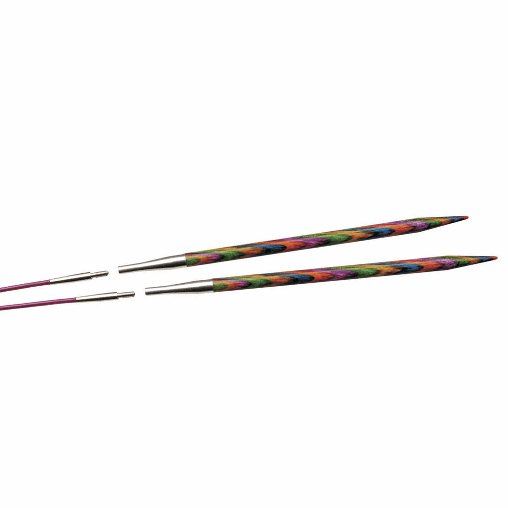 Two multi-coloured KnitPro interchangeable needles, demonstrating how to attach to purple cables.