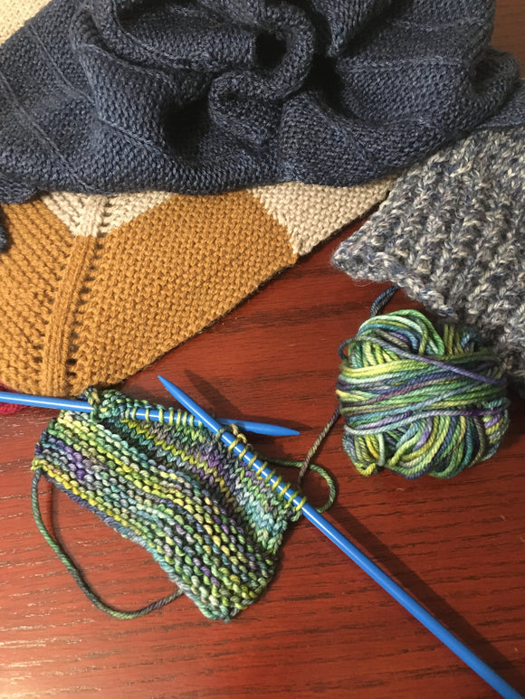 Picture of knitted items and some knitting in progress