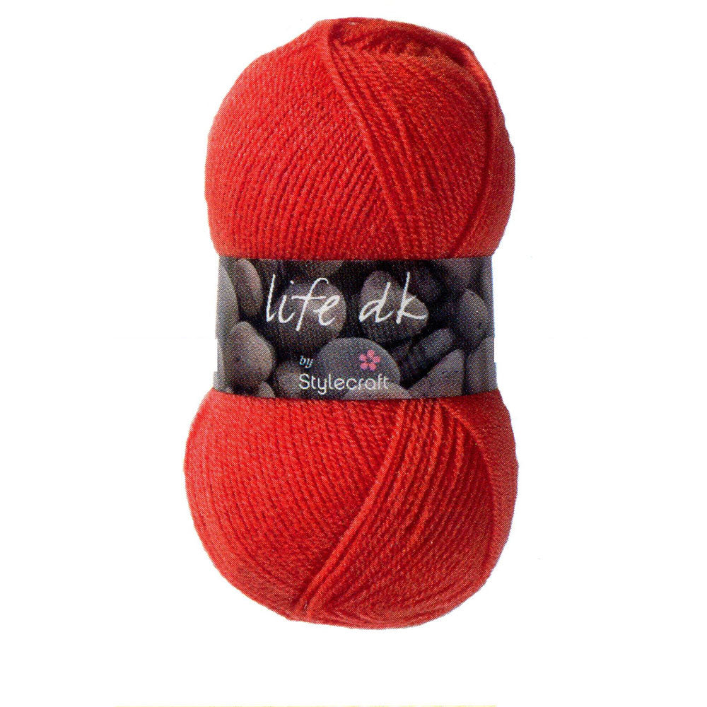 Ball of Stylecraft Life DK yarn in deep red