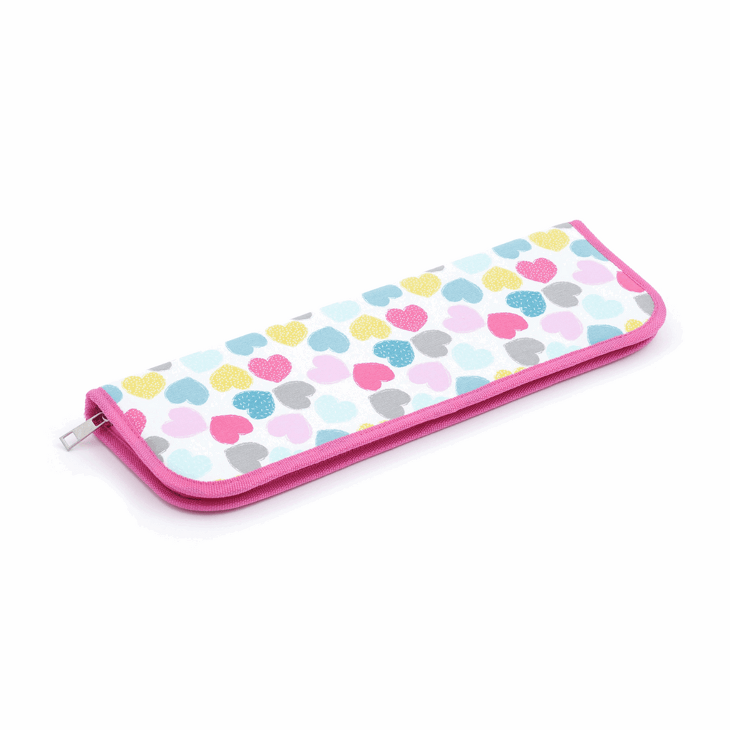 Zipped case with pastel hearts design