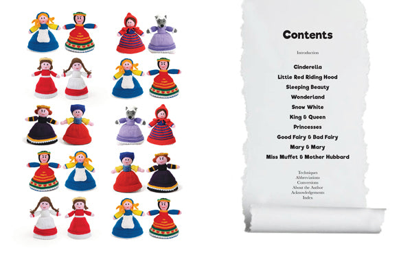 Contents pages of Topsy-Turvy Knitted dolls book showing all the pairs of characters