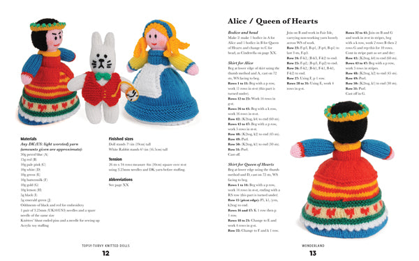 2 page spread from inside Topsy-Turvy Knitted Dolls book showing the instructions