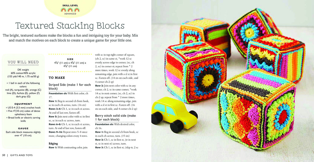 "A double page spread of ""Textured Stacking Blocks"", showing the skill level and the first page of how to make them. There is an image of 5 colourful blocks and a wooden car."