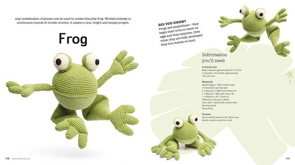 "A double page spread of a crocheted frog, with information you'll need to make it, and a ""Did you know?"" section about frogs."