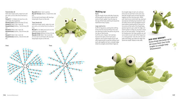 "A double page spread of the pattern for the crocheted frog, with images of the crocheted frog in various positions, and another ""Did you know?"" section."