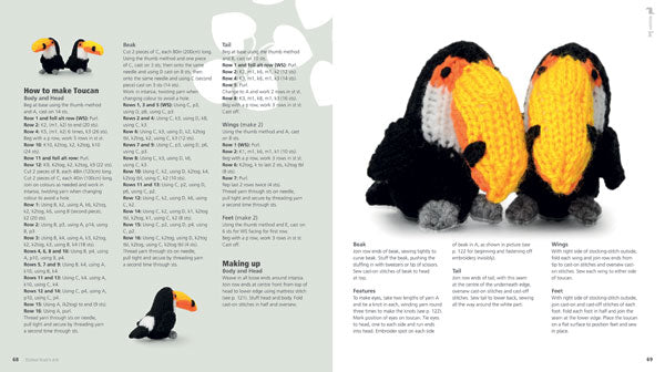 A double page spread of two knitted toucans, including instructions on how to make them.
