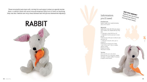 A double page spread of a knitted rabbit with carrot, including information you'll need for the knit and some facts about rabbits.