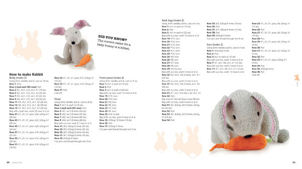 A double page spread of the pattern for the knitted rabbit, including images of the knit in different positions, and some facts.