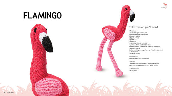 A double page spread of a knitted flamingo with information you'll need.