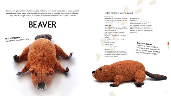 A double page spread of a knitted beaver, including information you'll need for the knit and some facts about beavers.