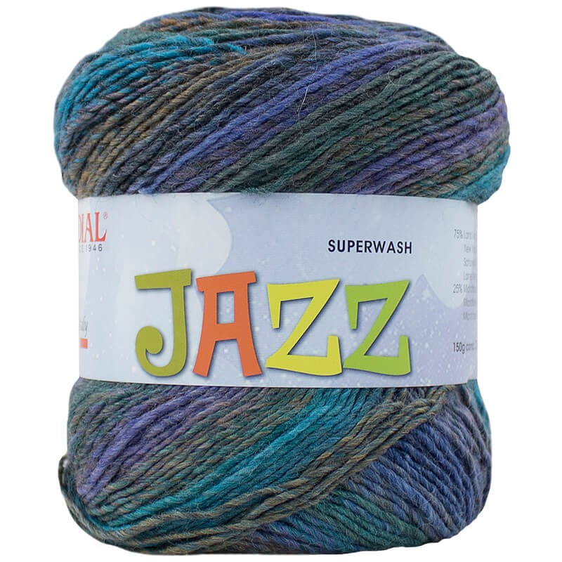 a ball of colourful Mondial Jazz yarn in blues and purples