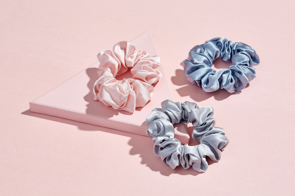 Blue Grey Silk Hair Scrunchies