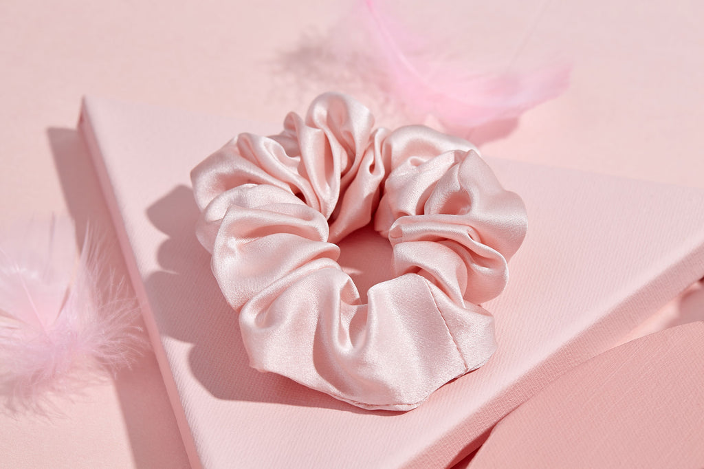 Pink Silk Hair Scrunchies