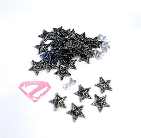 Hardware - Antique Nickel Star Rivets 3mm