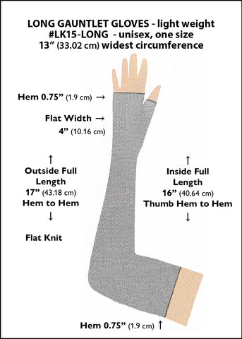 Long fingerless gauntlet gloves sizing diagram