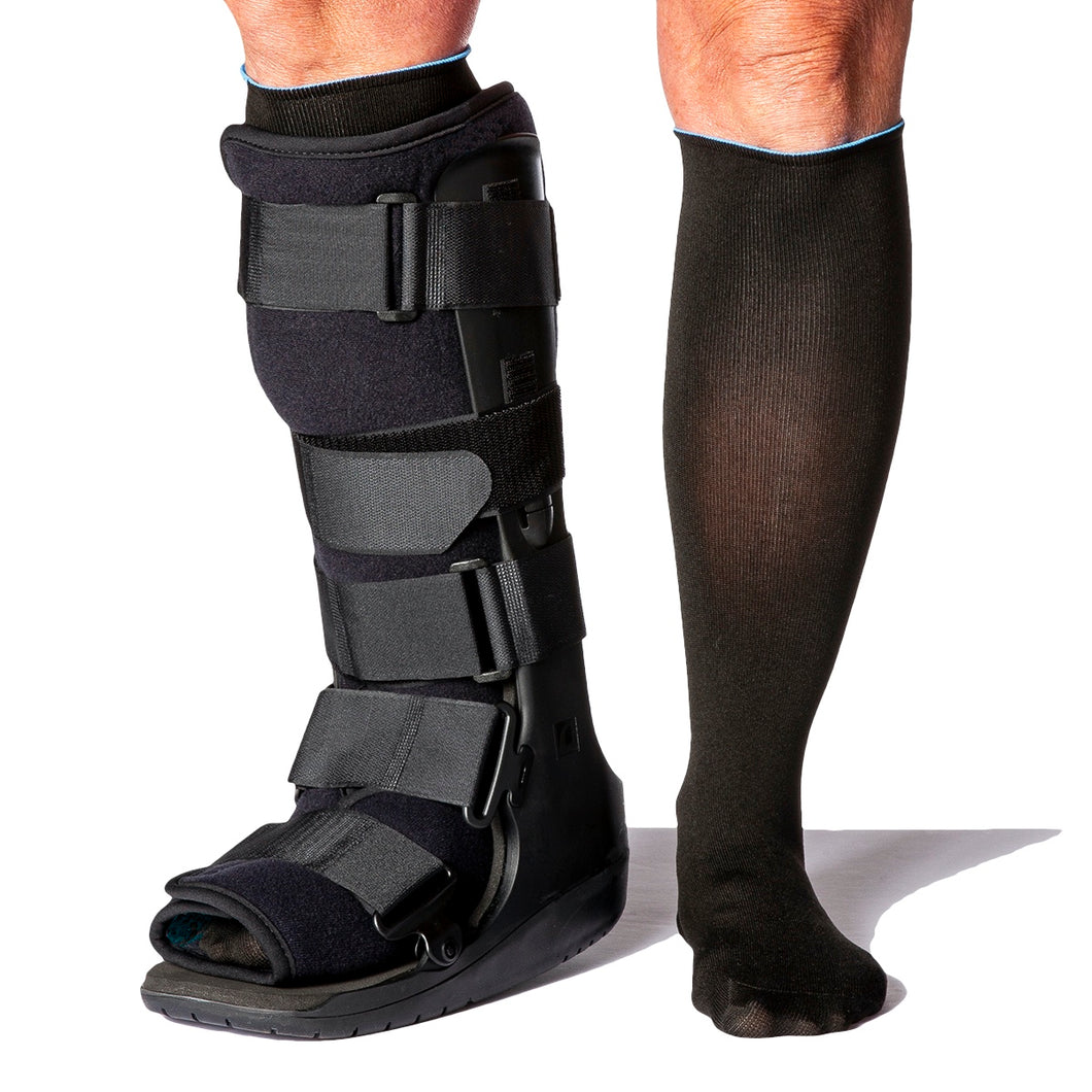 Walker Boot Sock for walker boots and braces, including orthopedic walker boots, post op surgical shoes, foot cast boots, closed toe medical walker shoes as well as aircasts. They help reduce skin irritation while wearing a foot brace or walking boot.