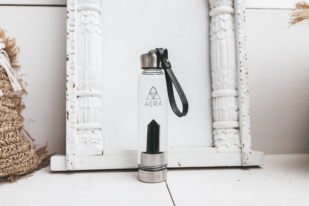 crystal water bottle drink australia black obsidian