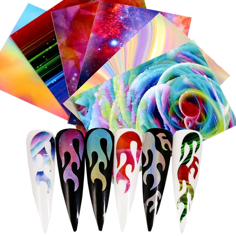 Abstract Rainbow Flame Nail Stickers
