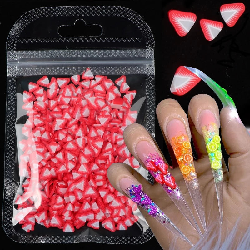 Fimo Strawberry Nail Slices