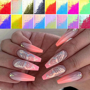 Iridescent Large Butterfly Nail Stickers