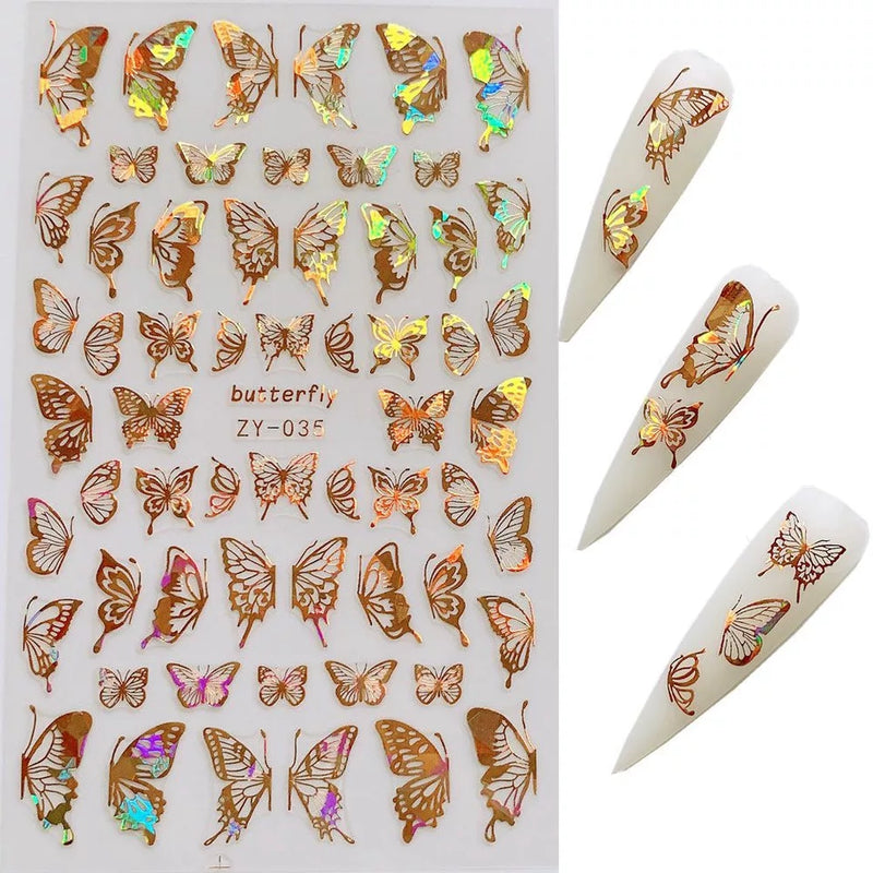 Holographic Butterfly Nail Stickers 8 Choices