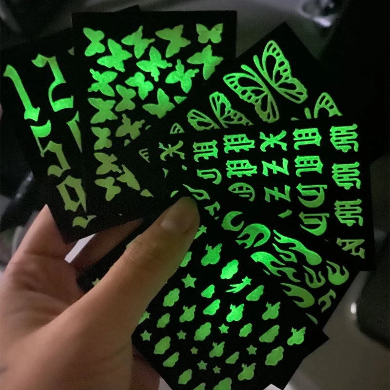 6 Sheet Set Glow In The Dark Nail Stickers