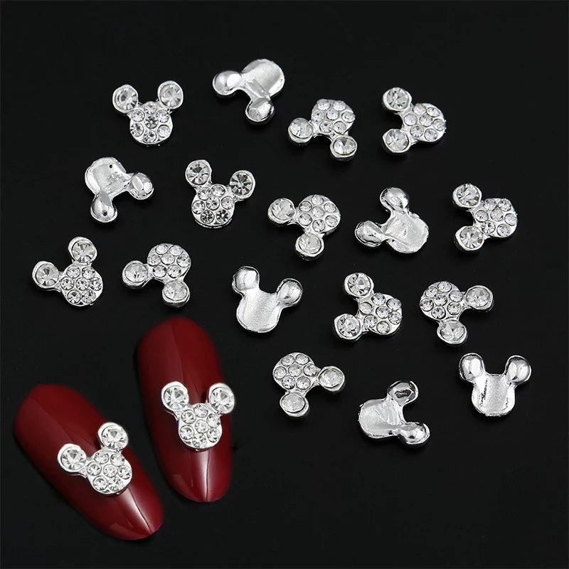 Silver Crystal Mouse Nail Charms