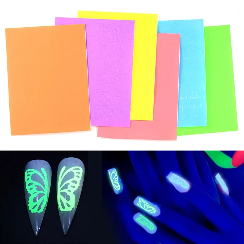 Neon Large Butterfly Nail Stickers