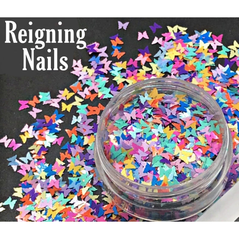 Butterfly Nail Glitter Rainbow Mix No.3